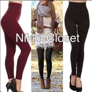 Pants - High waist fleece lined leggings OS soft comfy